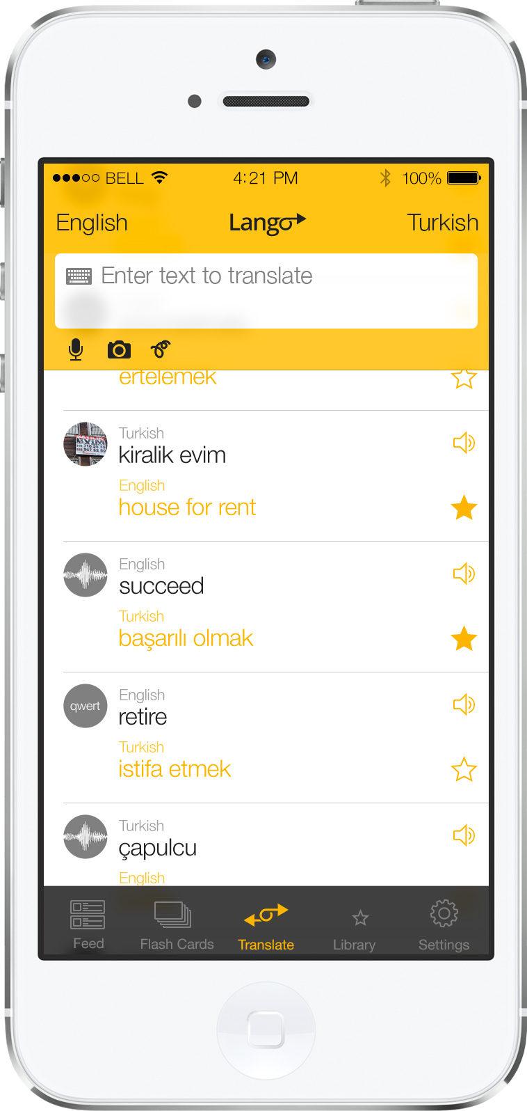 iOSLango universal translator app feed