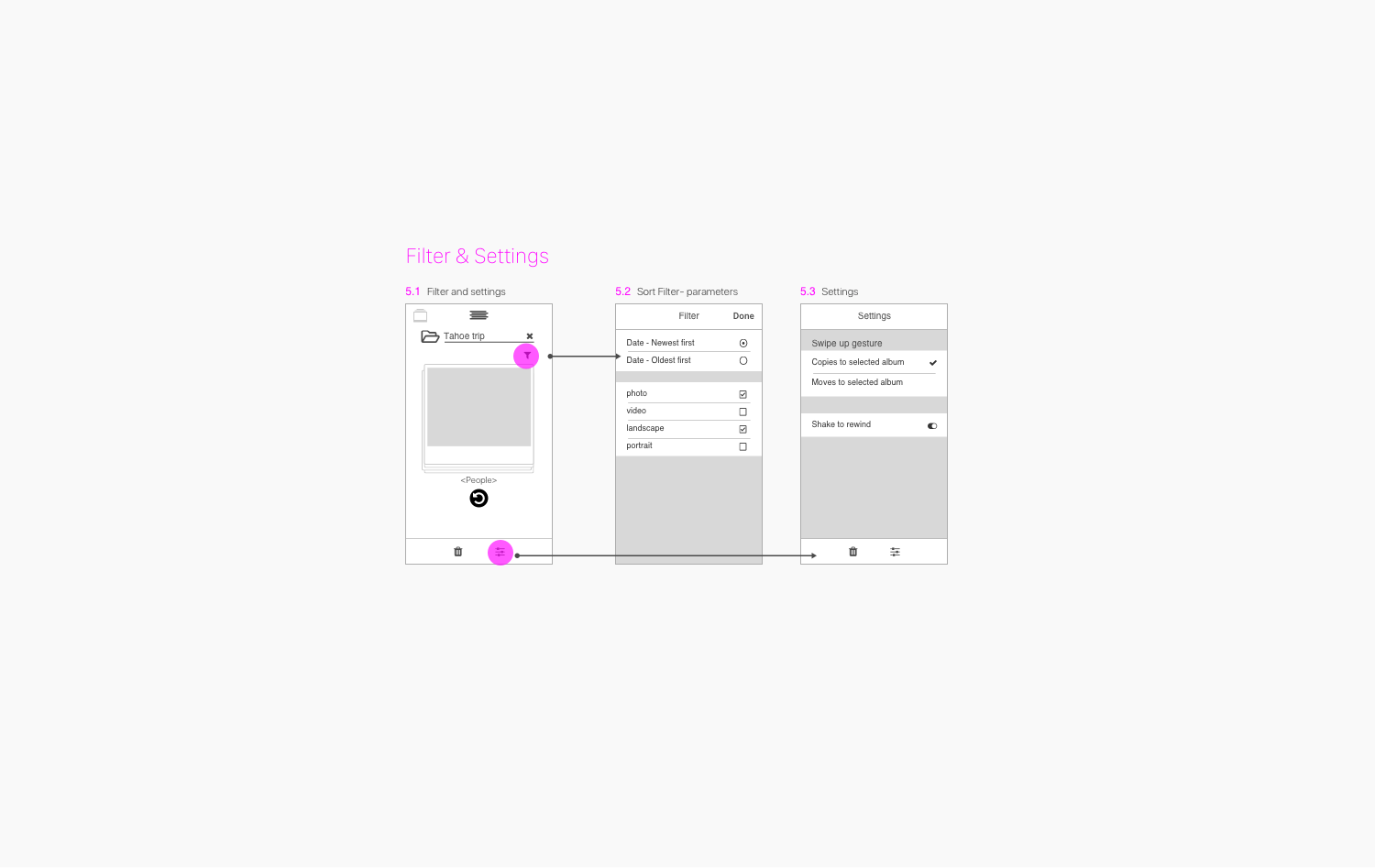 PhotoStacks UX - Filter-Settings wireframes