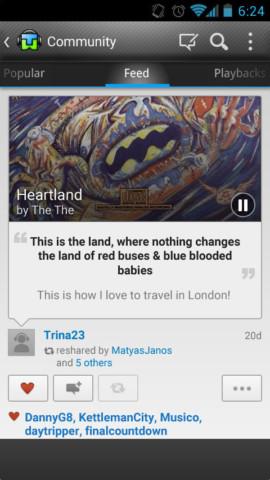 Tunewiki community feed screen