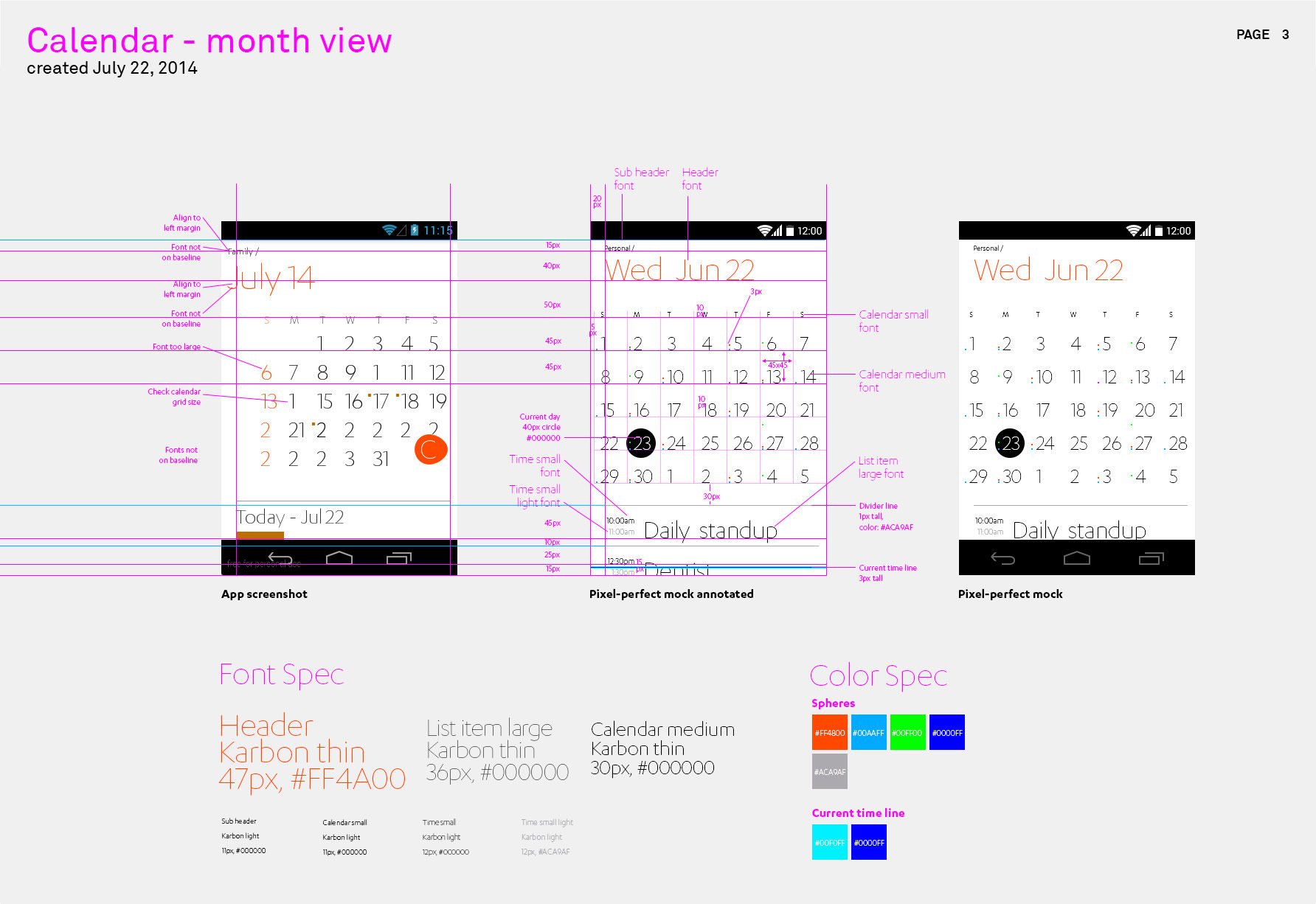 Productivity app - Month calendar