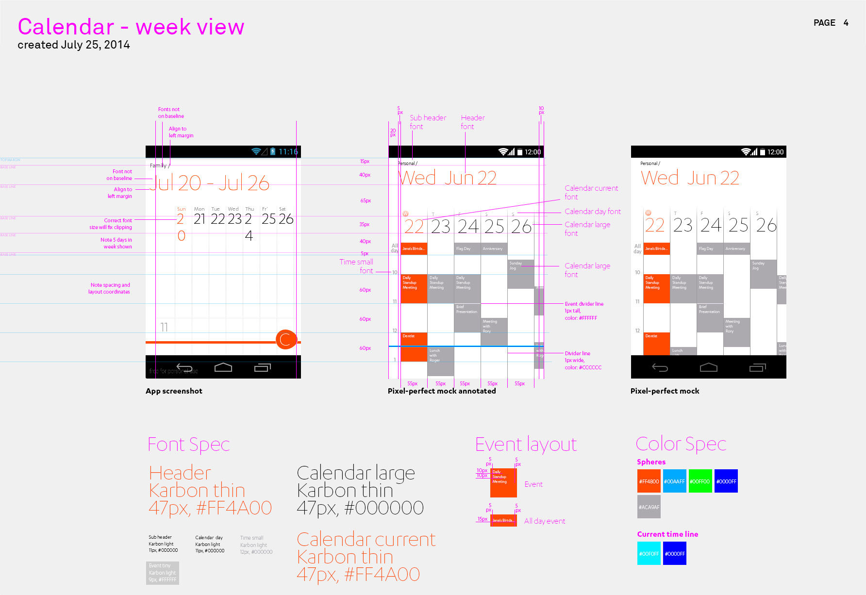 Productivity app - Week calendar