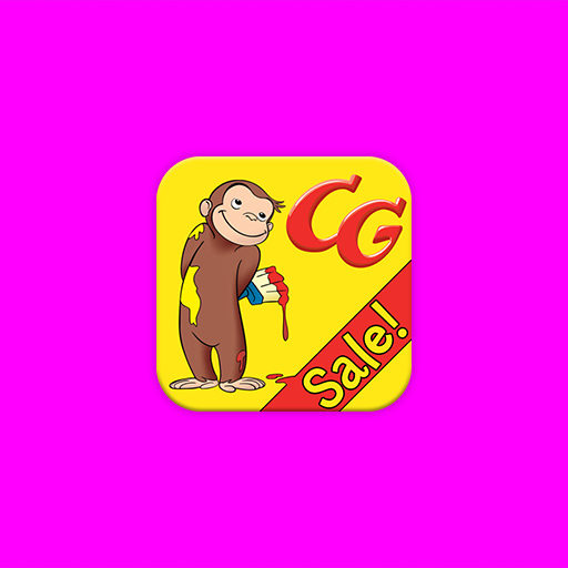 Curious George Coloring Book iOS App Icon Design Illustration