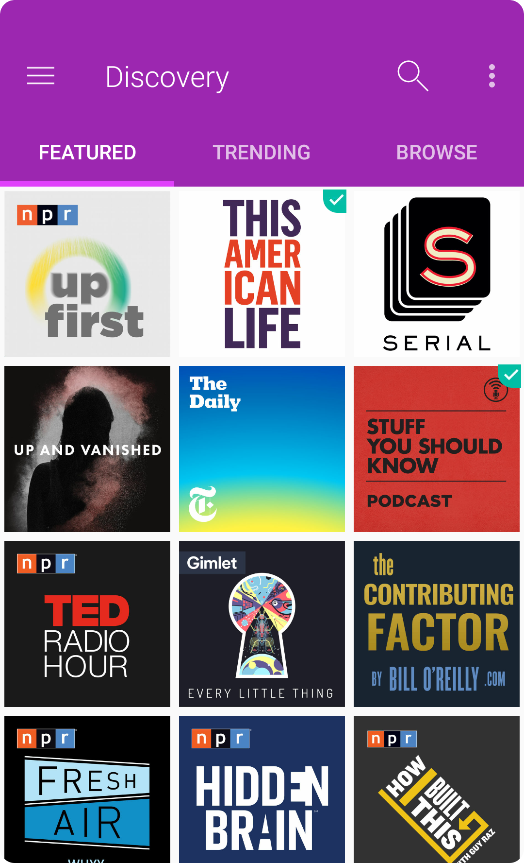 Android App Design - PodcastGuru Podcast Discovery/Featured