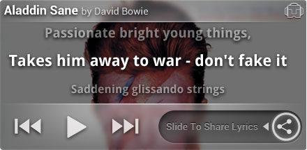 Tunewiki Lockscreen widget - Bowie