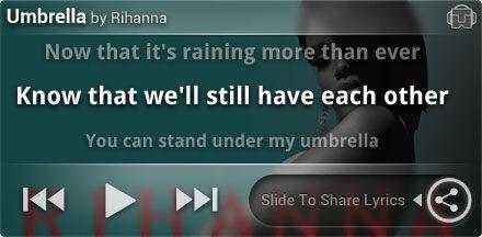 Tunewiki Lockscreen widget - Rihanna